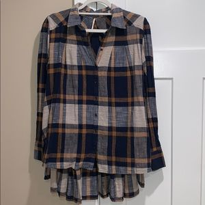 Free People peppy in plaid button down